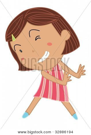 Cartoon von eine niedliche kleine Mädchen