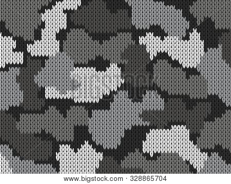 Colorful military decorative grey camouflage. Greeting card. Knitting khaki pattern. Vector illustration poster