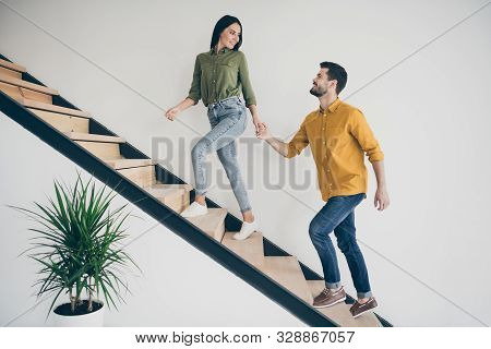 Lets Explore This Place. Full Size Profile Photo Of Handsome Guy And His Pretty Lady Walking To Bedr