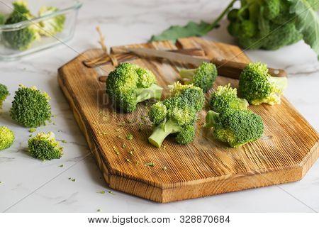 Fresh Green Broccoli. Organic Food. Green Vegetables