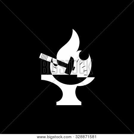 Flame Ironwork Geometric Design Logo Vector Unique Unusual