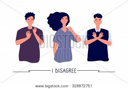 People With Negative Gestures. Young Persons Negative, Dislike And Stop, Refusing Gesture. Prohibiti
