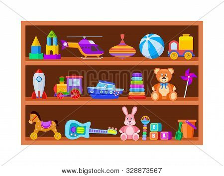 Kid Toys On Shelves. Children Toy On Wooden Shop Shelf In Playroom. Cartoon Ball And Train, Whirligi