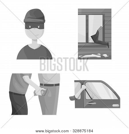 Vector Illustration Of Pickpocket And Fraud Symbol. Set Of Pickpocket And Steal Stock Vector Illustr