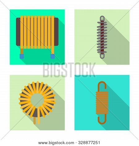 Vector Illustration Of Compression And Torsion Sign. Set Of Compression And Technology Stock Symbol
