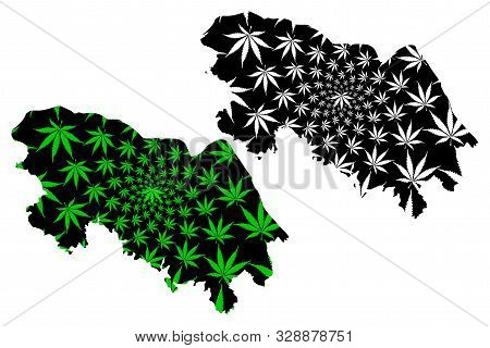 Bueng Kan Province (kingdom Of Thailand, Siam, Provinces Of Thailand) Map Is Designed Cannabis Leaf
