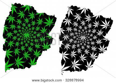 Chaiyaphum Province (kingdom Of Thailand, Siam, Provinces Of Thailand) Map Is Designed Cannabis Leaf