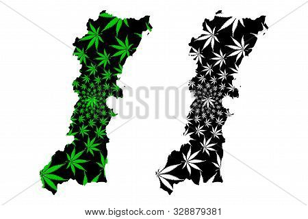 Chumphon Province (kingdom Of Thailand, Siam, Provinces Of Thailand) Map Is Designed Cannabis Leaf G