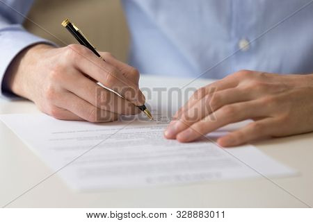 Successful Male Entrepreneur Signing Contract Agreement, Bank Loan Form.