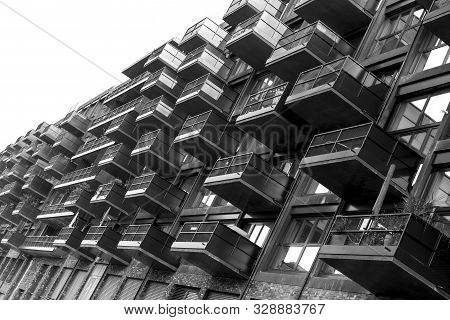 Some Balconies Of A House In Black And White