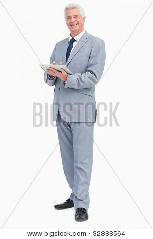 Portrait of a boss with a touch Pad against white background