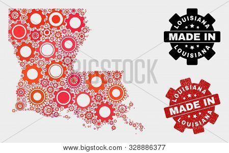 Mosaic Technical Louisiana State Map And Grunge Stamp. Vector Geographic Abstraction In Red Colors.