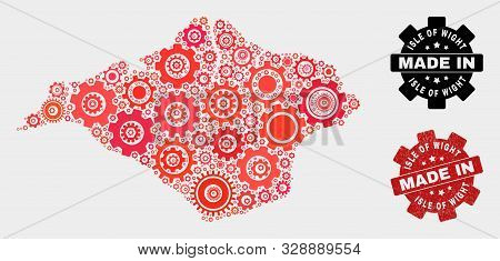 Mosaic Industrial Isle Of Wight Map And Textured Stamp. Vector Geographic Abstraction In Red Colors.