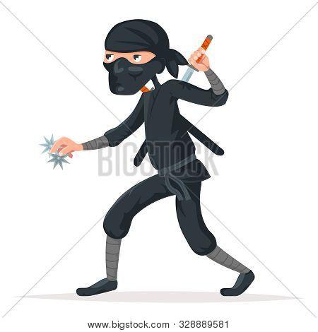 Japan Secret Ninja Assassin Japanese Sword Cartoon Character Stealthy Sneaking Vector Illustration