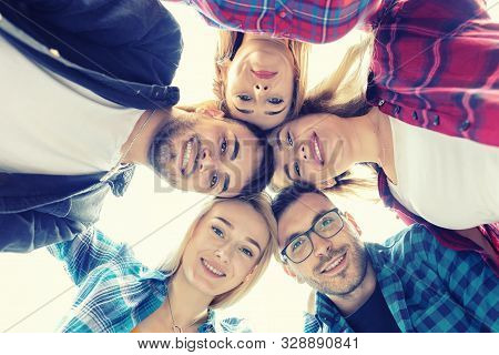 Smiling Best Friends Taking Selfie Outdoor - Happy Youth Friendship Concept With International Trend