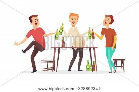 Men Drink Beer. Drunk Friends Characters. Vector Oktoberfest Beer Party Illustration. Male Friends I