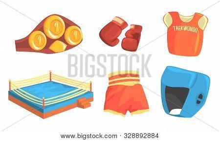 Taekwondo Sports Equipment Set, Head, Chest, Groin, Elbow Guard Protectors, Kimono And Sparring Grap