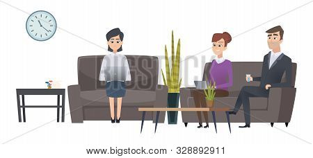 Waiting People. Man And Women Waiting Room. Vector Businesspeople Characters. Illustration Man And W