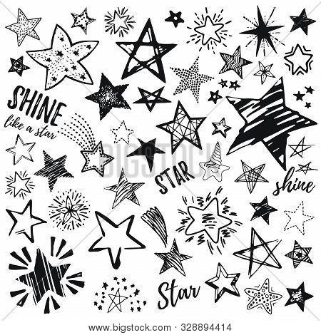 Stars Icon Set, Hand Drawn Sketch, Doodle Vector Illustration. Black Symbol By Brush, Pen, Ink, Isol