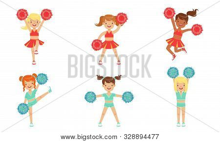 Cute Little Cheerleader Girls Dancing Set, Girls Dancers With Pompoms During Sports Competition Vect