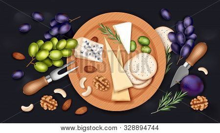 Assorted Cheeses With Nuts, Biscuits, Olives, Grapes, Prune And Rosemary On A Wooden Board, Realisti