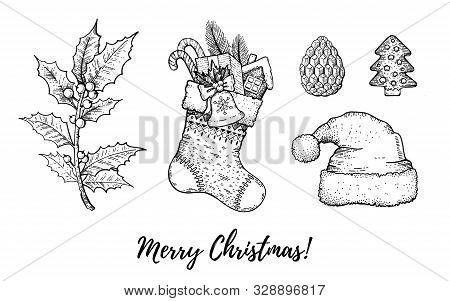Christmas Hand Drawn Doodle Icon Set. Merry Xmas, Happy New Year Symbols, Retro Sketch Style. Cute S