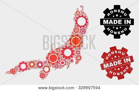 Mosaic Gear Honshu Island Map And Scratched Stamp. Vector Geographic Abstraction In Red Colors. Mosa