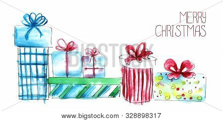Christmas Card. Composition From Beautiful Multi-colored Gift Boxes With Bows. Hand Drawn Watercolor