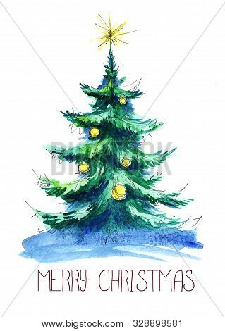 Watercolor Illustration. A Fluffy Green Christmas Tree With Yellow Balls And A Star On Blue Snow In