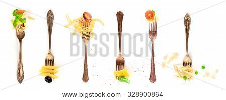 Italian Food Collage. Pasta Design Elements. Many Forks With Pasta And Various Addings, Shot From Ab