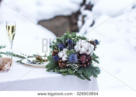 Winter Wedding   Bouquet Of The Bride. Beautiful Winter Wedding Bouquet With Cones, Cotton And Spruc