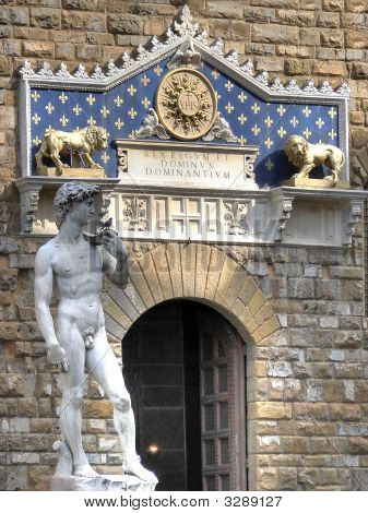 David And Entrance To Palazzo Vecchio Hdr