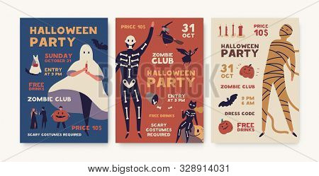 Halloween Party Poster Templates Pack. Holiday Entertainment Event, Masquerade Creepy Invitation. He