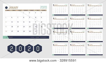 Vector Of 2020 New Year Calendar In Modern Clean Table Simple Style With Blue Gold Green Color,holid