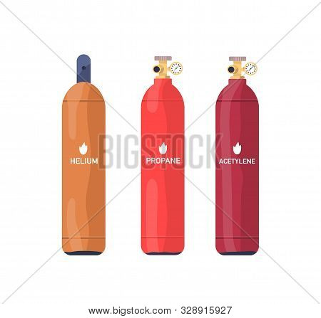 Flammable Gas Tanks Flat Vector Illustrations Set. Helium, Propane, Acetylene Industrial Multicolor