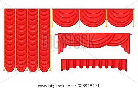 Red Curtains Set, Luxury Interior Drapery, Cornice Decor, Textile Lambrequin Vector Illustration
