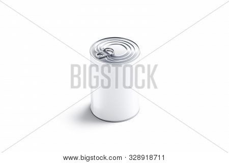 Blank White Big Conserve Can With Lid Mockup, Isolated, 3d Rendering. Empty Caned Box With Meat Mock