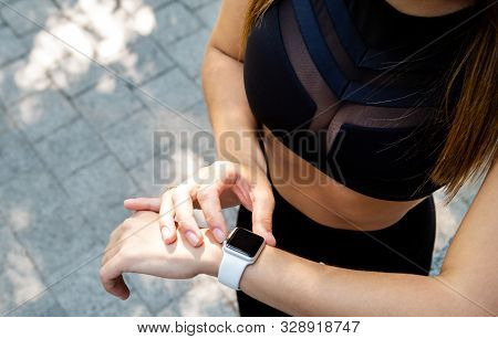 Close Up View Of Woman Wrist With Activity Tracker. Heart Rate Monitor Smart Watch For Sport. Cloe-u