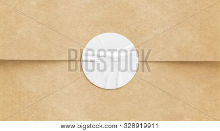 Blank White Crumpled Sticker On Craft Paper Mock Up, 3d Rendering. Empty Kaft Pack With Tag For Prem