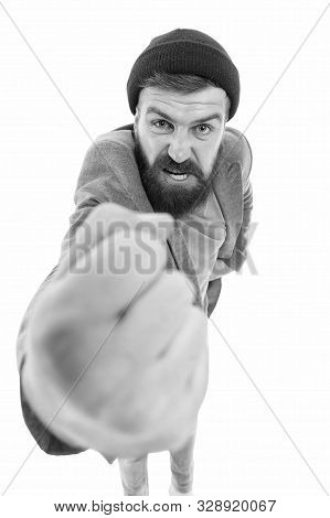 Brutal And Rude. Brutal Caucasian Man Shaking His Fist With Anger. Bearded Man In Brutal Style. Brut