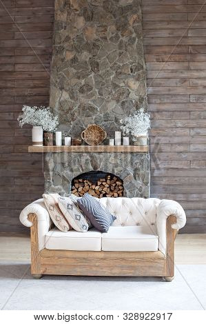 Cosy Living Room With Eco Decor . Wood And Nature Concept In Interior Of Room. Scandinavian Interior