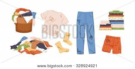 Dirty And Clean Clothes Flat Vector Illustrations Set. Laundry Collection. Pile Of Washed Clothing,