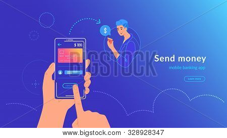 Mobile Banking And Sending Money From Credit Card Via Electronic Wallet App Wirelessly And Easy. Bri