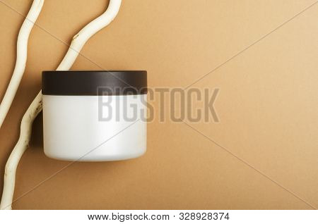 Cosmetic Cream, Balm Jar Mockup On Beige Background. Makeup Product Blank Container. Body Care Cosme