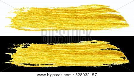 Yellow Gold Colored Doodle Smear Stroke Isolated On Black And White Backgrounds, Hand-drawn Golden A