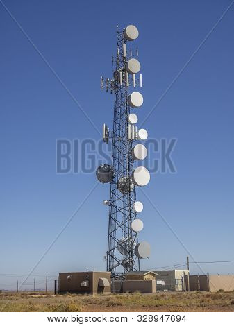 Communication Tower On Blue Sky In Desert