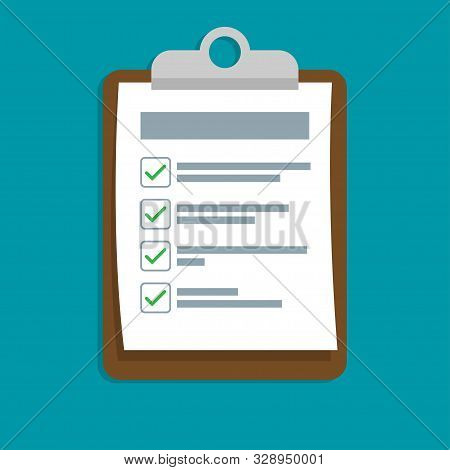 Clipboard With Checklist Icon. Flat Clipboard With Checklist Icon