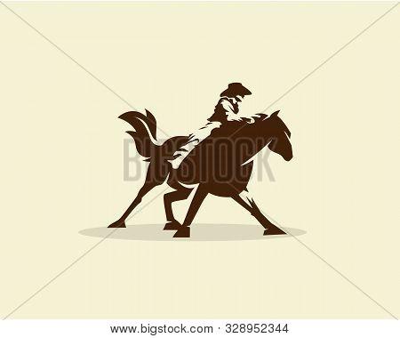 Vector Of Cowboy Riding Wild Horse Illustration