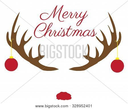 Vector Illustration Of Christmas Antlers With Red Nose.
