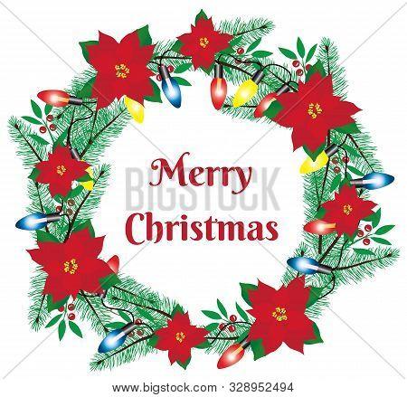 Vector Illustration Of A Christmas Wreath With Poinsettias